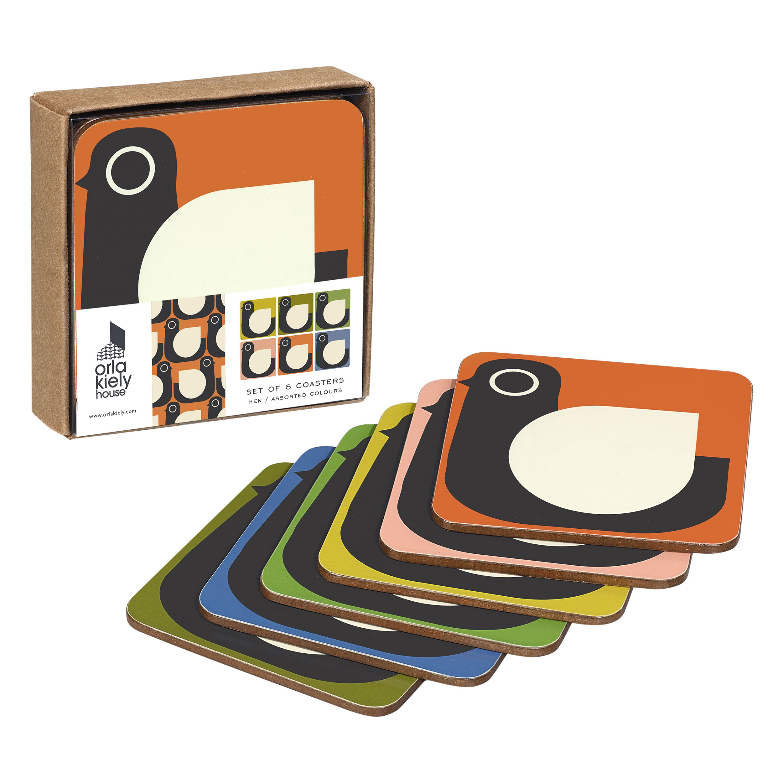 Coasters Hen Assorted Colours, Set of 6