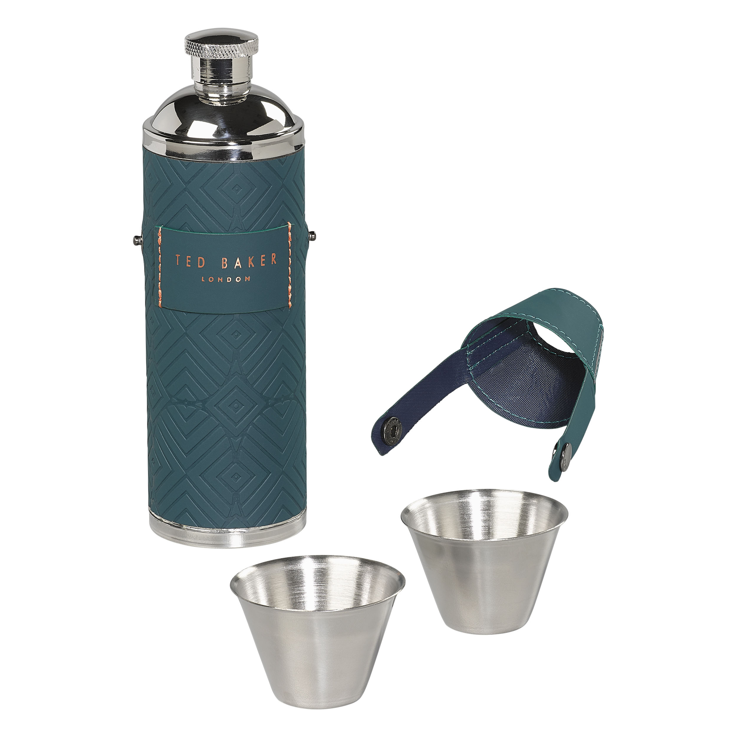 Hip Flask with shot cups, Teal