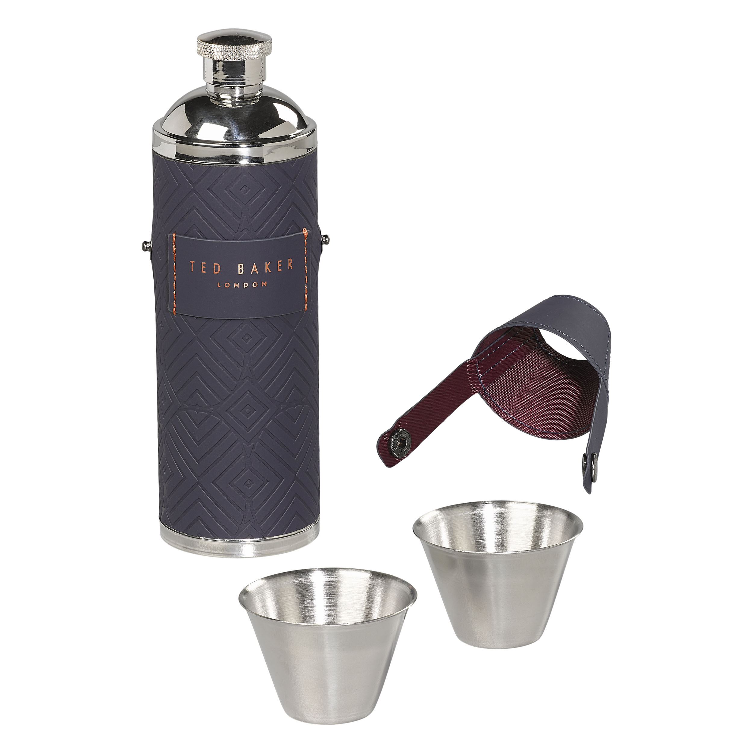 Hip Flask with shot cups, Blue Cadet