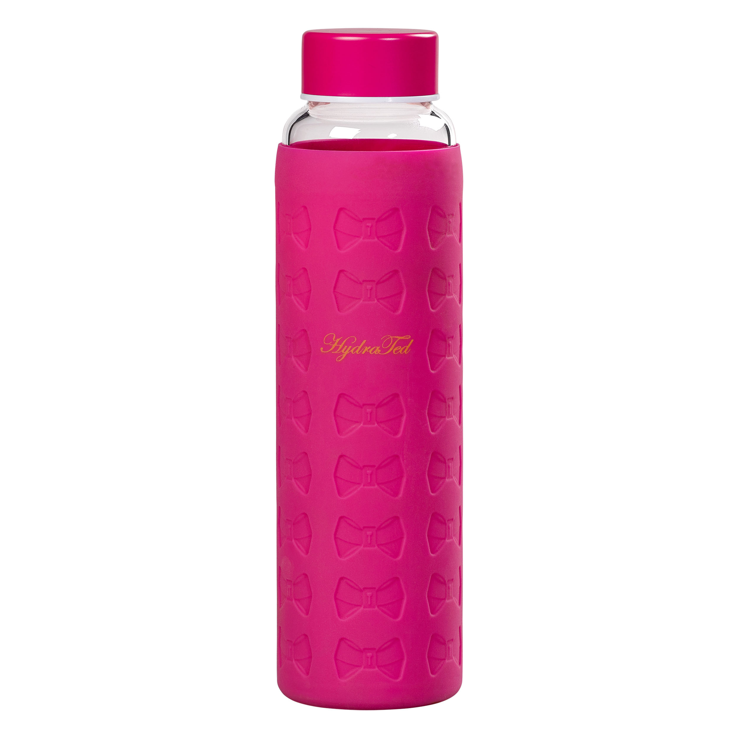 Glass Water Bottle, Hot Pink