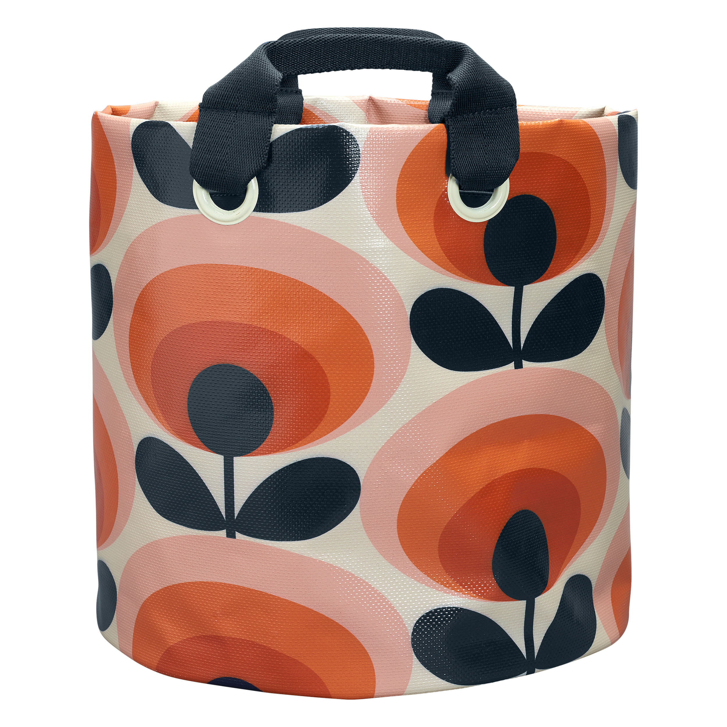 Large Fabric Plant Bag 70s Flower Oval Persimmon