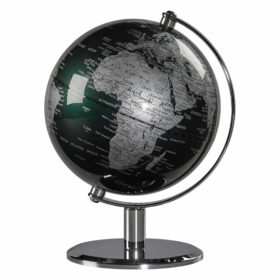 Desk Globe 6″, Fir Green & Chrome