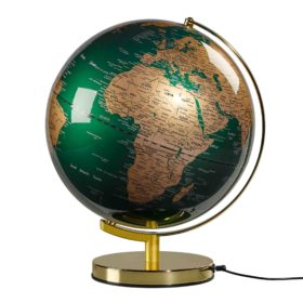 Globe Light 12″, Fir Green & Brass, EU Plug